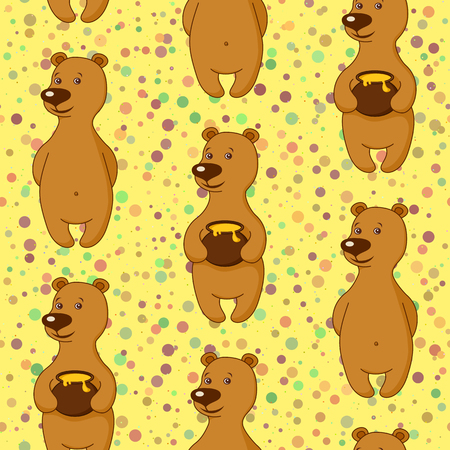 Seamless Holiday Background, Teddy Bears with Honey Pots. Tile Pattern with Funny Cartoon Characters.