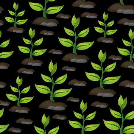 Tile pattern with abstract symbolical plants with green leaves growing out of the rocky ground on black background. Illustration