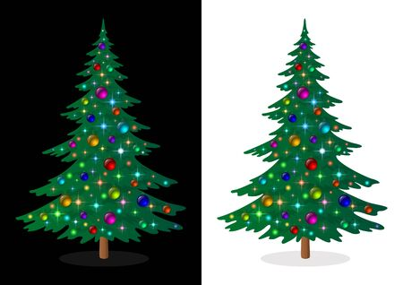 Green Christmas Fir Tree with Bright Colourful Balls and Magic Stars, Holiday Winter Symbol, Isolated on White and Black Background, Contains Transparencies. Vector