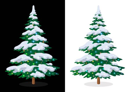 Green Christmas Fir Tree with Snow and Bright Colourful Magic Stars, Holiday Winter Symbol, Isolated on White and Black Background, Contains Transparencies. Vector 일러스트