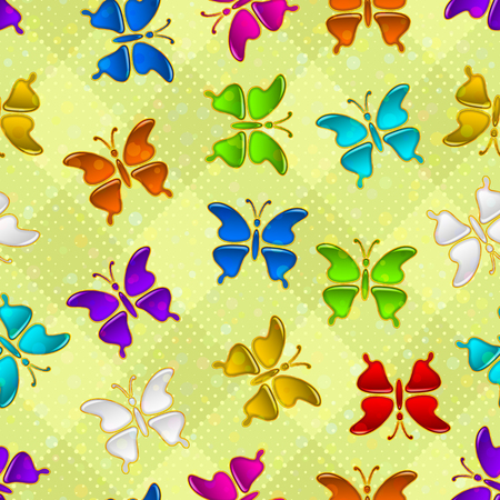 Seamless holiday background with colorful magic butterflies, tile pattern for your design. Illustration