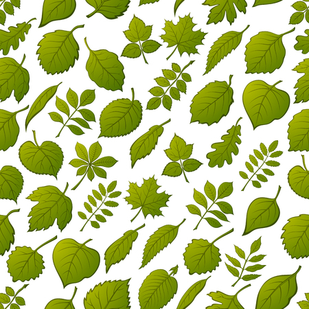Seamless Background with Green Leaves of Various Plants, Trees and Shrubs, Nature Tile Pattern for Your Design. Vector
