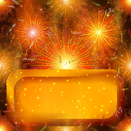 Holiday Background with Orange Colorful Fireworks Illustration