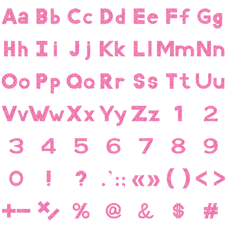 Set of Letters, Numbers, Punctuation and Mathematical Signs Stylized Pink Valentine Hearts. Elements for Holiday Design Titles. Vector