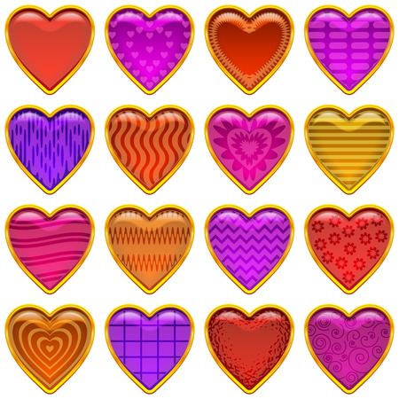 Set of Multicolored Buttons with Different Patterns and Gold Frames, Valentine Hearts, Love Symbols. Eps10, Contains Transparencies. Vector