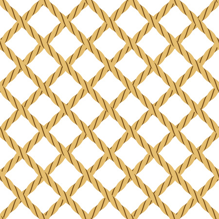 Seamless Background with Rope, in Shape of Grid, Isolated on White. Illustration