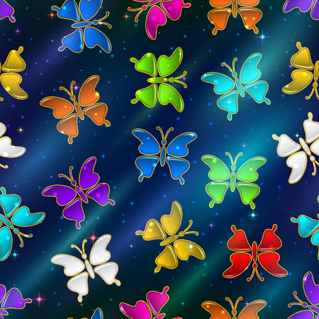 Seamless Holiday Background with Colorful Magic Butterflies, Tile Pattern for Your Design. Eps10, Contains Transparencies. Vector Illusztráció