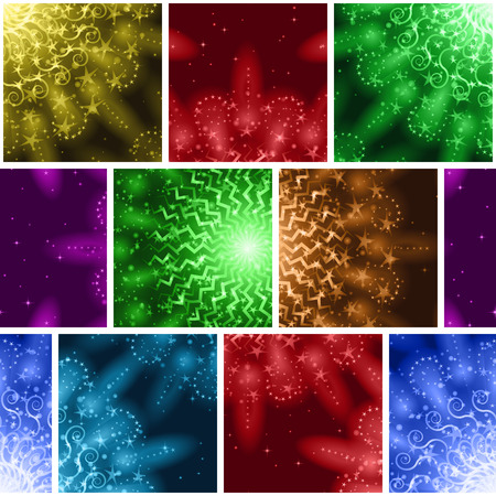 Seamless Holiday Background with Fireworks of Various Colors and Shapes. Tile Pattern for Web Design, Split Into Separate Parts. Eps10, Contains Transparencies. Vector