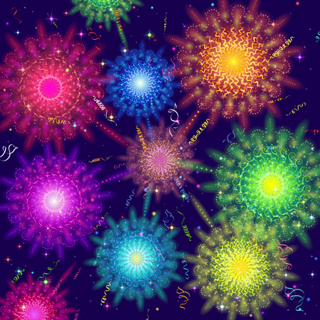Holiday background with various colorful fireworks, sparks and flashes, contains transparencies vector.