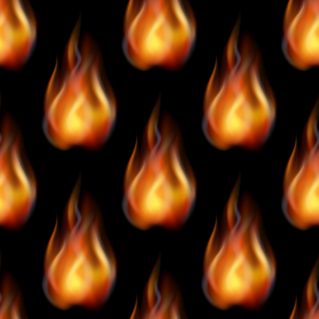 Fire Seamless Tile Pattern in Blazing Orange and Yellow Flames.