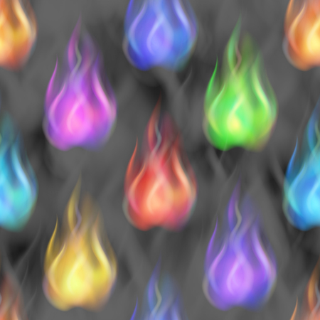 Fire Seamless Pattern Background, Blazing Colorful Flames. Eps10, Contains Transparencies. Vector