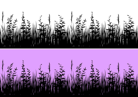 Line Seamless Landscape with Black Silhouette Grass, Isolated on White and Color Background, Element for Your Design. Vector Çizim