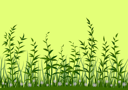 Seamless Horizontal Background, Nature, Landscape with Fresh Green Grass, Leaves and Lilac Flowers on Yellow, Tile Pattern for Your Design. Vector