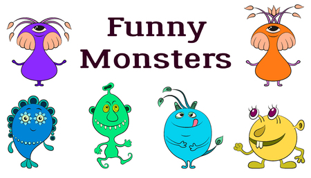 Set of funny colorful cartoon characters, different monsters, elements for your design, prints and banners, isolated on white background vector.