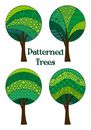 Set of Abstract Green Patterned Forest Trees, Elements for your Design, Isolated on White Background. Vector