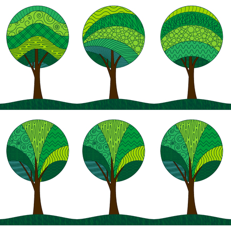 Horizontal Seamless Background, Symbolic Green Patterned Forest Trees with a Round Crown, Isolated on White. Vector