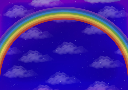 Landscape, Background with Bright Colorful Rainbow on Blue Sky with White Clouds and Stars. Eps10, Contains Transparencies. Vector