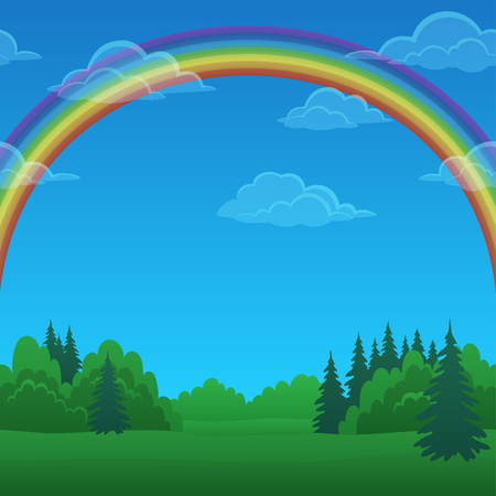 Background Landscape, Green Summer Forest and Blue Sky with Bright Colorful Rainbow and White Clouds. Eps10, Contains Transparencies. Vector Illusztráció