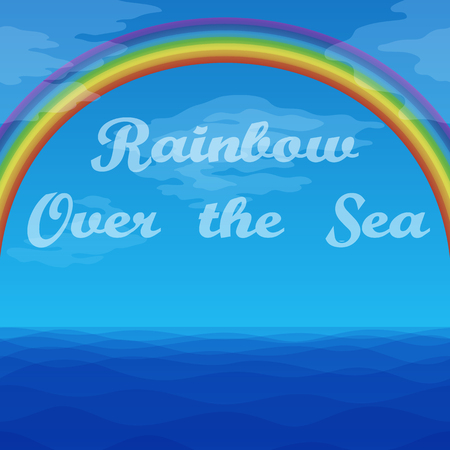 Seascape Landscape, Blue Sky with Bright Colorful Rainbow Under Sea Waves. Eps10, Contains Transparencies. Vector Ilustração