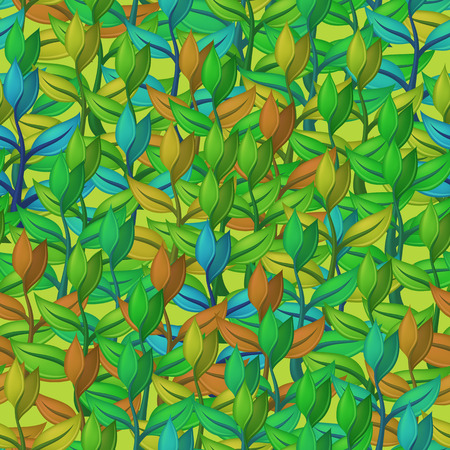 Tile Pattern, Seamless Background with Abstract Symbolical Plants with Colorful Leaves. Eps10, Contains Transparencies. Vector