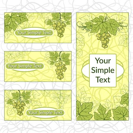 Satz von Einkaufsetiketten, Etiketten, Aufklebern oder Visitenkarten mit grünen Weinblättern und Beeren. Eps10, enthält Transparenzen. Vektor Standard-Bild