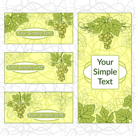Set of Shopping Tags, Labels, Stickers or Business Cards with Green Grape Leaves and Berries. Eps10, Contains Transparencies. Vector Stock Photo
