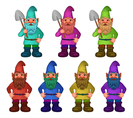 Set of Cartoon Garden Gnomes, Funny Fairy Characters, Old Bearded Dwarfs with Spades in Colorful Clothes, Caps and Big Boots, Isolated on White. Vector