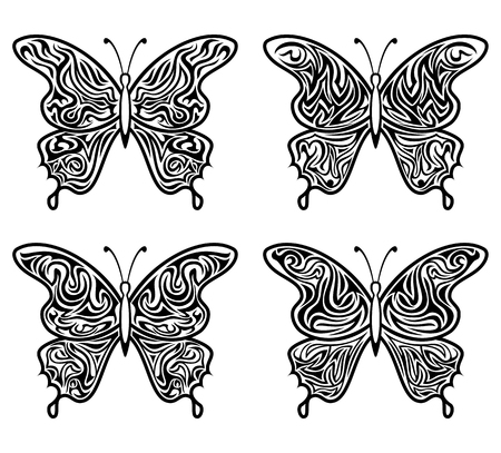 Black Contour Butterflies with Open Pattern Wings, Isolated on White. Vector Vetores