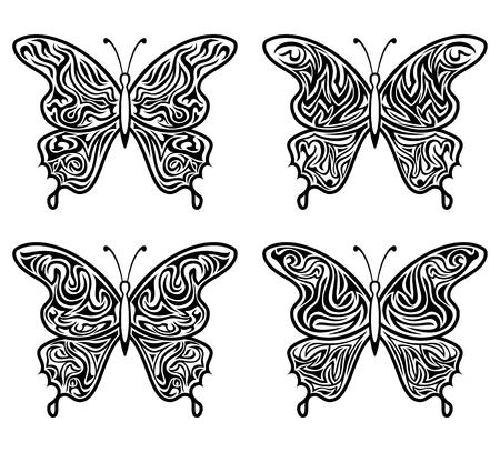 Schwarze Kontur-Schmetterlinge mit offenen Musterflügeln, isoliert auf weiss. Vektor Vektorgrafik