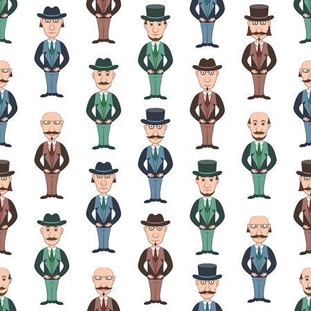 Seamless Background with Strict Slender Gentleman in Glasses, Hat and Business Suit, Funny Cartoon Characters. Tile Pattern for Your Design. Vector