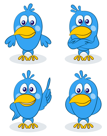 Blue Cartoon Birds, Little Pigeons with Different Emotions. Vector