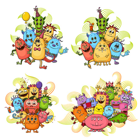 Set of Groups Funny Colorful Cartoon Characters, Different Monsters, Elements for your Design, Prints and Banners, Isolated on White Background. Vector