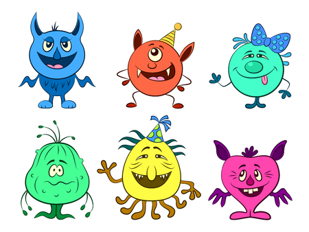 Set of Cute Different Cartoon Monsters, Colorful Characters in Holiday Caps, Elements for your Design, Prints and Banners, Isolated on White Background. Vector