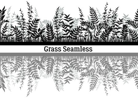 Line Seamless Landscape with Black Silhouette Grass, Reflecting in Water, Isolated on White Background. Vector Ilustrace