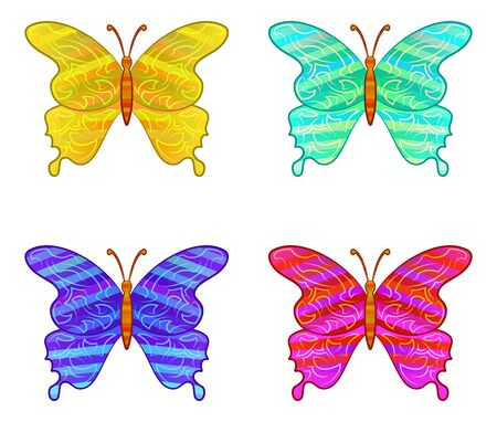 Set of Colorful Butterflies with Pattern Wings, Isolated Icons on White. Eps10, Contains Transparencies. Vector Illusztráció