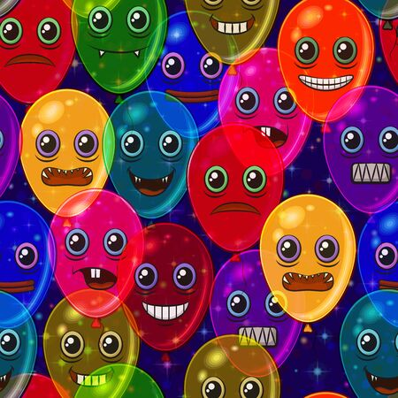 Seamless Holiday Pattern, Tile Background with Colorful Balloons with Cartoon Monster Faces, Cute Funny Characters for Your Design.
