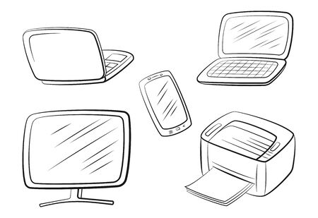 Group of Computer Equipment Icons. Monitor, Printer, Laptop and Smartphone. Office Digital Electronics. Black Pictograms Isolated on White. Vector