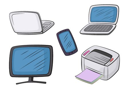 Group of Computer Equipment Icons. Monitor, Printer, Laptop and Smartphone. Office Digital Electronics, Isolated on White. Vector