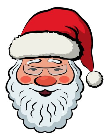 Santa Claus, Smiling Face, Christmas Character in Red Cap and Glasses. Vector
