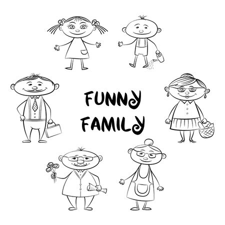 Funny Family, Set of Cartoon Characters Mother, Father, Son, Daughter, Grandfather, Grandmother Black Contours Isolated on White. Vector
