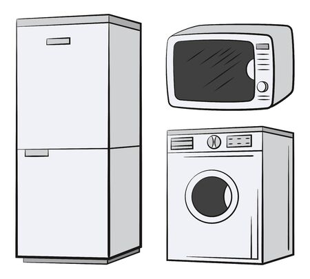 Group of Technical Equipment Icons. Refrigerator, Washing Machine, Microwave. Isolated on White. Vector