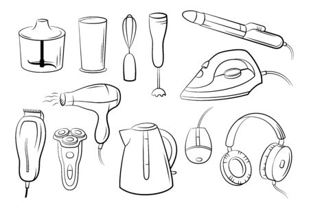 Group of Technical Equipment Icons Shaver, Iron, Hair Dryer, Blender, Kettle, Headphones and Computer Mouse. Black Pictograms Isolated on White. Vector Foto de archivo - 138474880