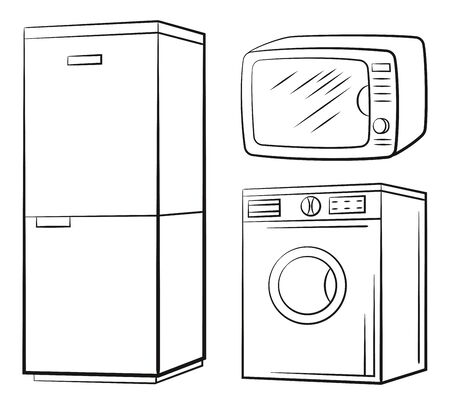 Group of Technical Equipment Icons. Refrigerator, Washing Machine, Microwave. Black Pictograms Isolated on White. Vector
