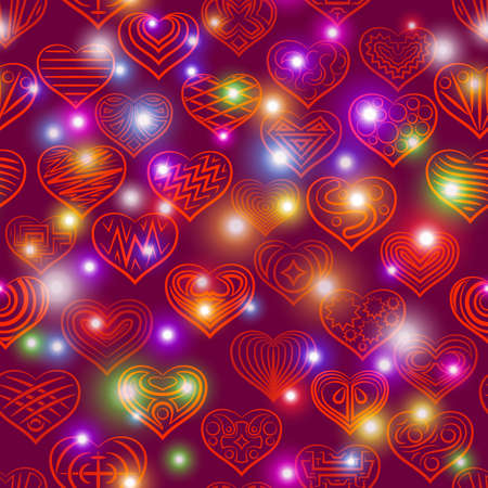 Valentine holiday seamless with hearts contours and stars, tile pattern.