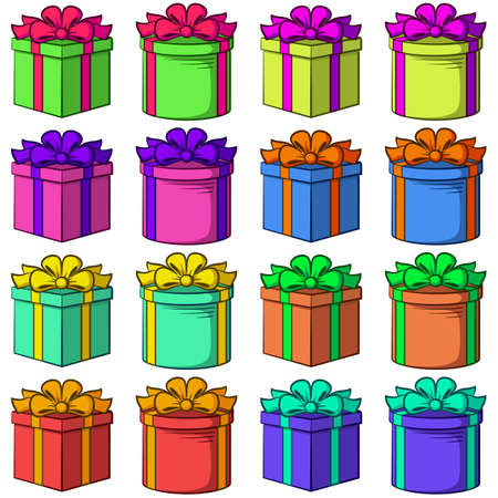 Set Colorful Gift Boxes Square and Round Forms with Bows, Holiday Symbols, Isolated on White Background. Vector