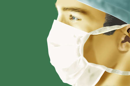 portrait closeup of a surgeon with mask