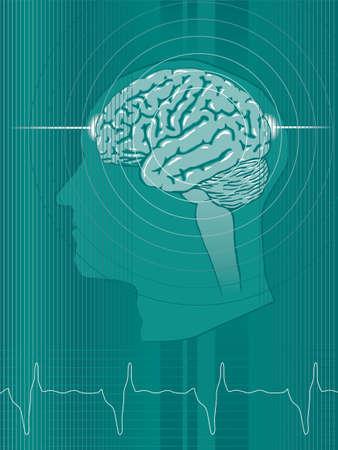 Een gestileerde groene abstracte achtergrond met Uman hersenen en neurologische activityIcon elementen zijn op een aparte laag en kan gemakkelijk worden verwijderd Hellingen alleen geen transparanten Stock Illustratie