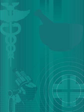 Eine stilisierte grüne abstrakten Hintergrund mit medizinischen, Gesundheits-und Notfall-Elementen Pharmaceutical Symbole Kreuz, sind Mörtel, Mikroskop und Caduceus Icon Elemente auf einer separaten Ebene und können leicht entfernt werden Farbverläufe nur keine Transparenzen