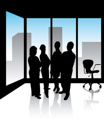 four managers in office with skyline of the city Illustration