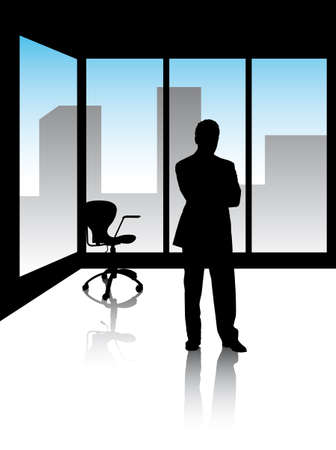 managers in office with skyline of the city Illustration